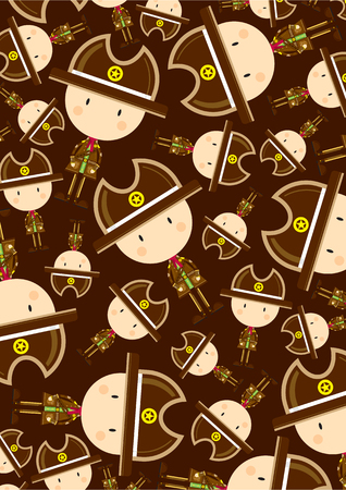 Cute Cartoon Cowboy Sheriff Pattern