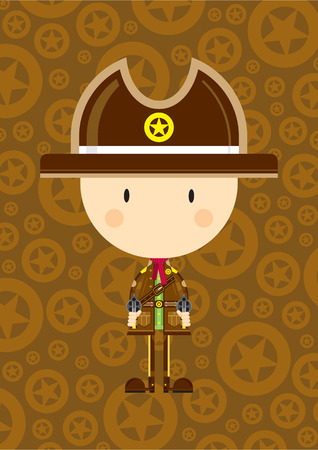 Cute Cartoon Cowboy Sheriff with Guns