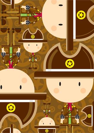Cute Cartoon Cowboy Sheriff Pattern