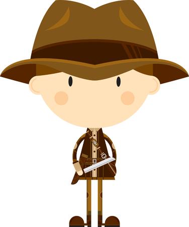 Cute Cartoon Adventurer with Machete
