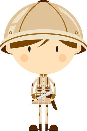 Esploratore di Safari simpatico cartone animato con machete