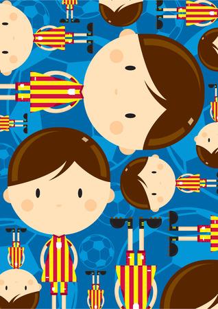 Cute Cartoon Football Player Pattern