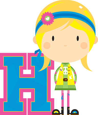 H is for Hippie Alphabet Learning Illustration