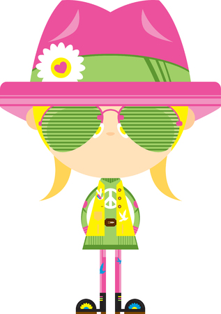 Cute Cartoon Hippie Girl in Shades and Hat