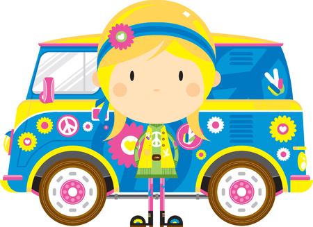 Cartoon Sixties Flower Power Hippie and Camper Van  イラスト・ベクター素材