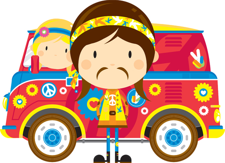 Cartoon Sixties Flower Power Hippies and Camper Van