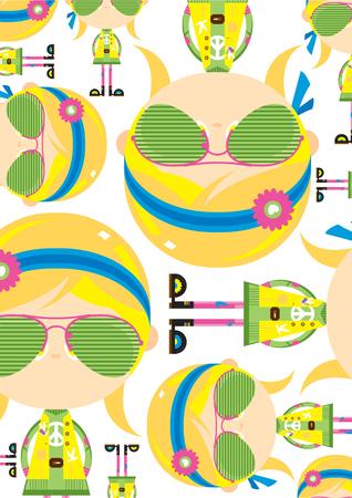 Cartoon Sixties Flower Power Hippie Girl Pattern Ilustração
