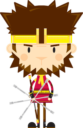 Cute Sun Wukong The Monkey King with Staff  イラスト・ベクター素材