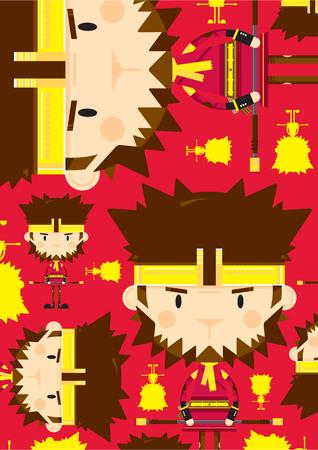 Cute Sun Wukong The Monkey King Pattern Illustration