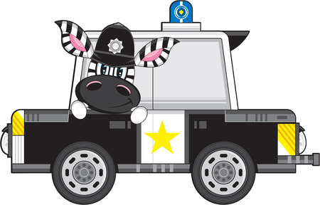 Cartoon Zebra Policeman and Police Car