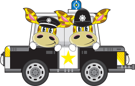 Cartoon Giraffe Policemen and Police Car