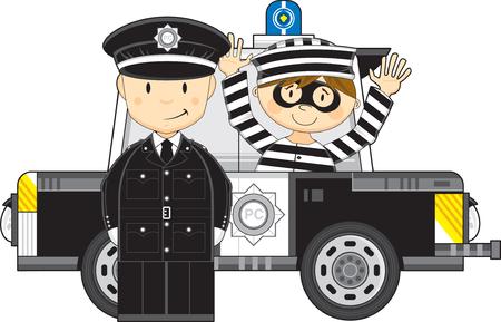 Cartoon Policeman and Police Car
