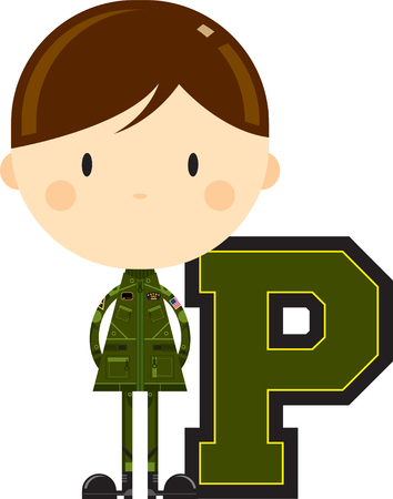 P is for Pilot Alphabet Learning Illustration