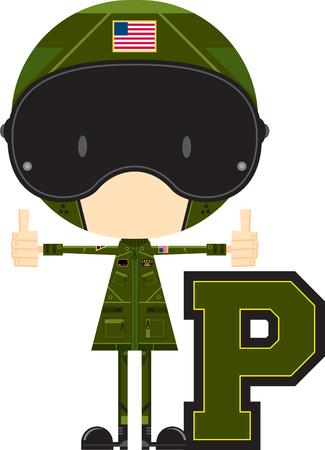 P is for Pilot Alphabet Learning Illustration