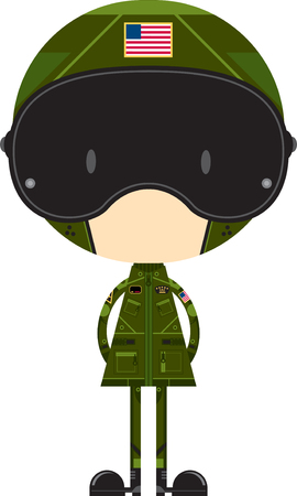 Cartoon Air Force Fighter Pilot