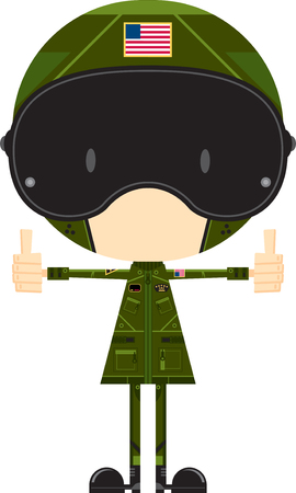 Air Force Fighter Pilot with Thumbs Up Vektorové ilustrace
