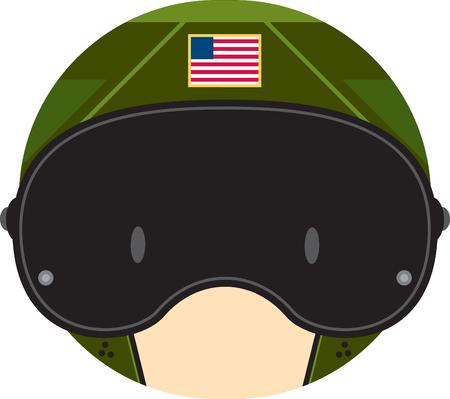 Cartoon Air Force Fighter Pilot Head