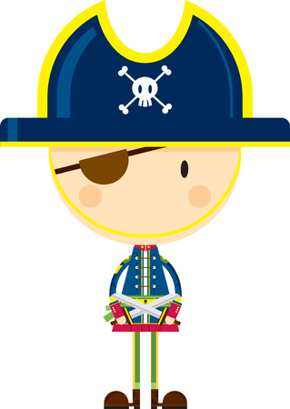 Cartoon Pirate Captain with Swords  イラスト・ベクター素材