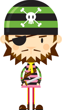 Cartoon Bandana Pirate with Sword