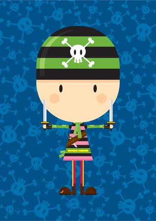 Cartoon Bandana Pirate with Swords Ilustração
