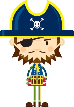 Cartoon Pirate Captain with Treasure Chest