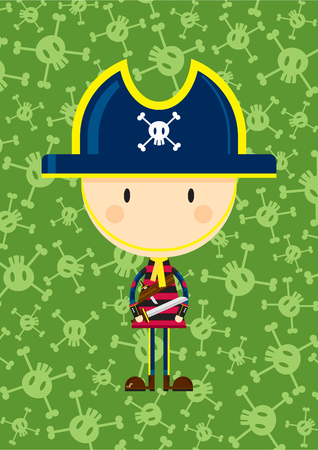 Cartoon Pirate Captain with Sword  イラスト・ベクター素材
