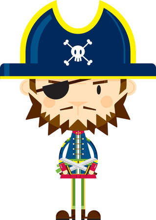 Cartoon Pirate Captain with Swords Illustration