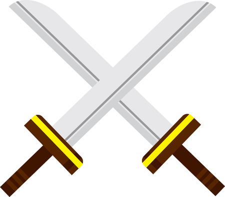 Cartoon Crossed Swords Ilustração