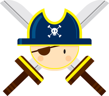 Cartoon Pirate Captain with Crossed Swords Ilustração