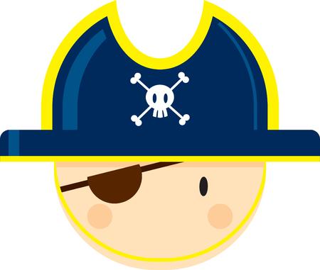 Cartoon Pirate Captain with Eye Patch Ilustração