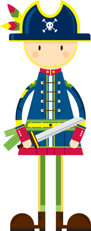 Cartoon Pirate Captain with Sword Illustration