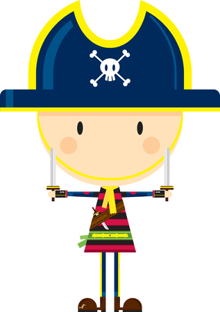 Cartoon Pirate Captain with Swords Ilustração