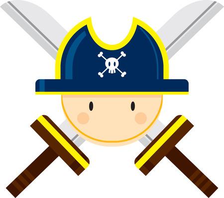 Cartoon Pirate Captain with Crossed Swords Illustration