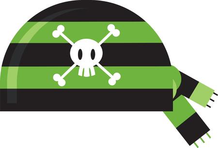 Cartoon Pirate Bandana Ilustração