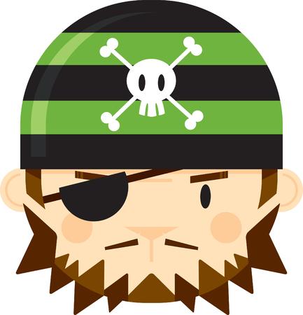Cartoon Eye Patch Bandana Pirate Face