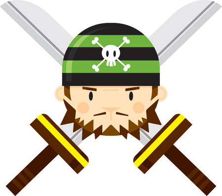 Cartoon Bandana Pirate with Crossed Swords