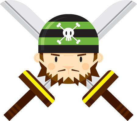 Cartoon Bandana Pirate with Crossed Swords