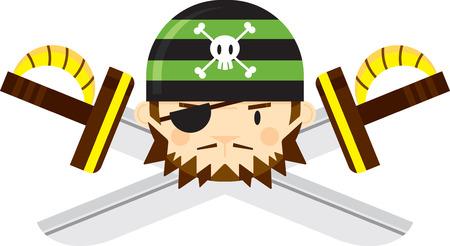 Eye Patch Bandana Pirate with Crossed Swords Ilustração