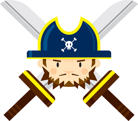 Pirate Captain with Crossed Swords Ilustração
