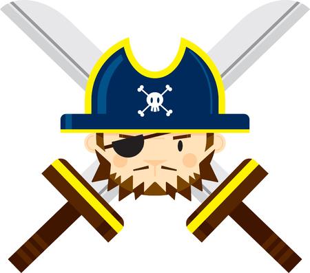 Eye Patch Pirate Captain with Crossed Swords Ilustração
