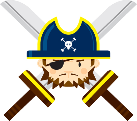 Eye Patch Pirate Captain with Crossed Swords Illustration