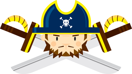 Pirate Captain with Crossed Swords 向量圖像