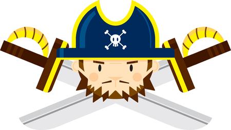 Pirate Captain with Crossed Swords Ilustração