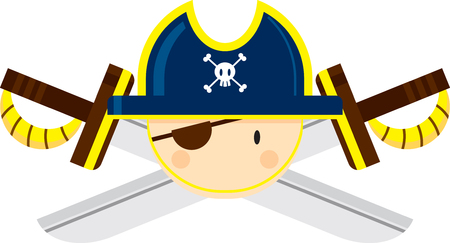 Eye Patch Pirate Captain with Crossed Swords Ilustração