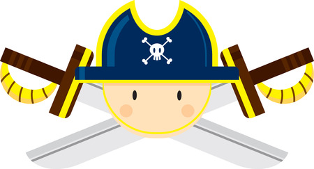 Cartoon Pirate Captain with Crossed Swords Illustration