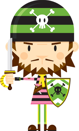 Cartoon Bandana Pirate with Sword and Shield