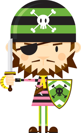 Eye Patch Bandana Pirate with Sword and Shield