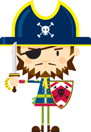 Cartoon Pirate Captain with Sword and Shield Illustration
