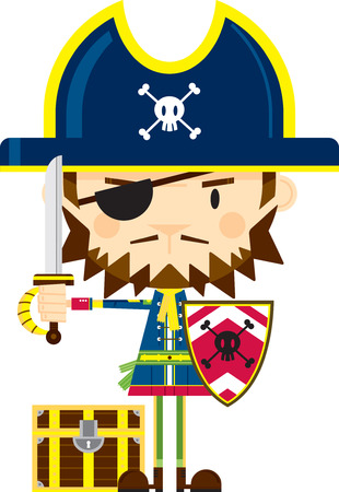Pirate Captain with Sword and Shield Illustration