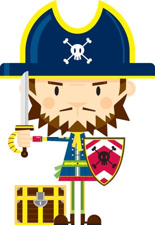 Cartoon Pirate Captain with Sword and Shield Ilustração